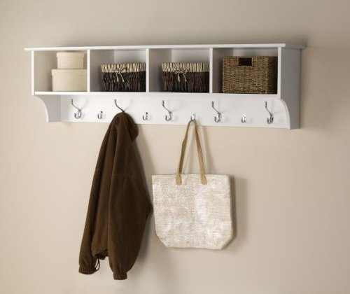 White 60 Wide Hanging Entryway Shelf