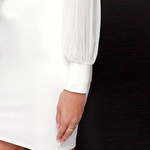 Belle Estilo Escotado por detrás Vestido Señoras IHRKleid® Elegante Vestido Longitud de la rodilla Festiva Vestidos Blanco