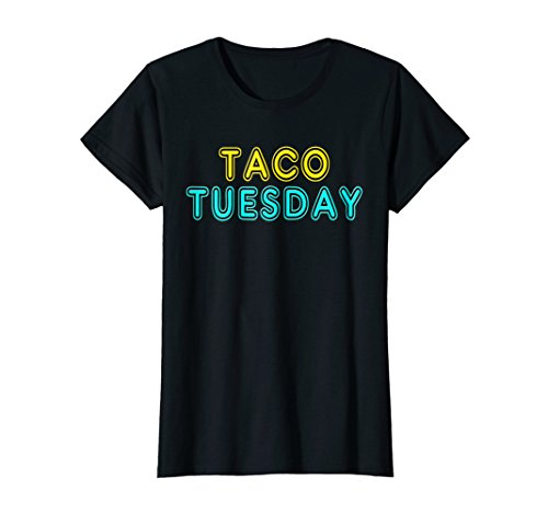 Womens Retro 80's Vintage Neon Sign Taco Tuesday Gift T-Shirt XL Black (Vintage Neon Signs)