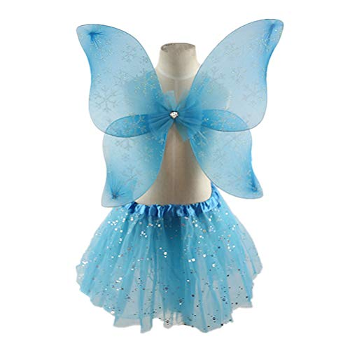 Amosfun Girls Fairy Princess Costume Set Butterfly Wing Wand Headband Tutu Skirt Party Costume Children's Party -