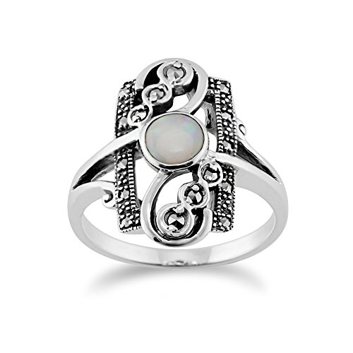 Silver 0.28ct Opal Cabochon & 0.15ct Marcasite Classic Art Nouveau Style Ring (Cabochon Marcasite Ring)