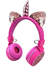 Unicorns Headphones Kids Cat Ear Bluetooth Headphones Wireless Foldable Headset with Mic