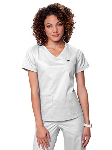 (KOI Women's Nicole Super Comfy Pullover Style Scrub Top with Rib Trim, White, X-Large)