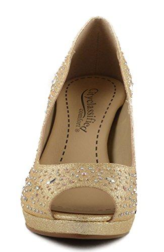 City Classified Womens Comfort Frank Peep Toe Pump With Iridescent Rhinestones Lt. Gold Fabric YGEBFHTr