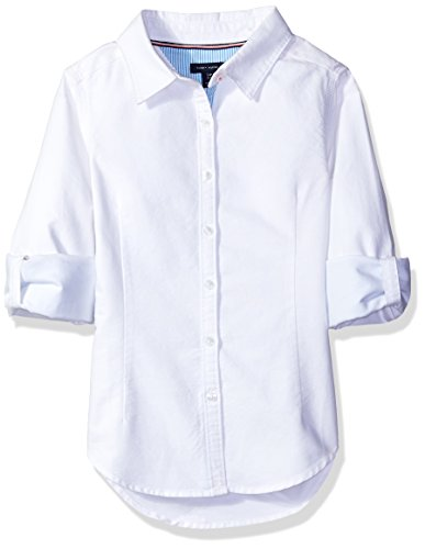 Tommy Hilfiger Big Girls' Solid Oxford Shirt, White, - Tommy Sale Hilfiger Women