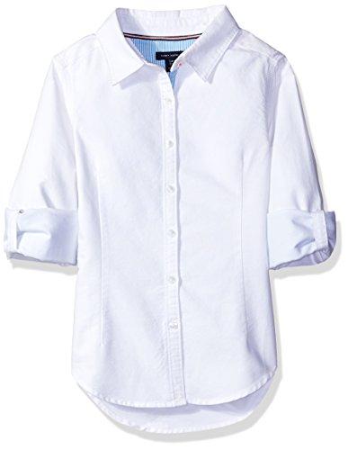 Tommy Hilfiger Big Girls' Solid Oxford Shirt, White, - Oxford Tommy Hilfiger Shirt