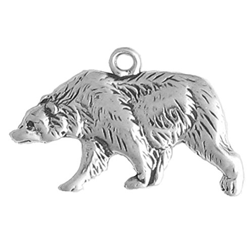 925 Sterling Silver Native American Indian Walking Bear, Left Charm Pendant (Native American Bear Jewelry compare prices)
