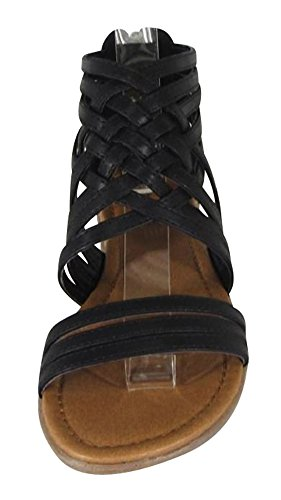 Cambridge Select Womens Open Toe Crisscross Woven Lattice Strappy Back Zip Flat Sandal Black Pu ZZ9MbsGyc1
