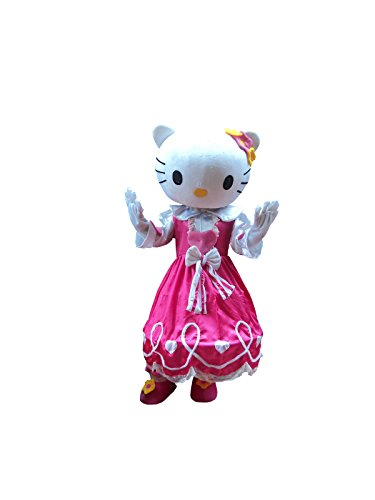 Hello Kitty Cat Adult Mascot Costume Cosplay Fancy Dress Outfit Pink]()