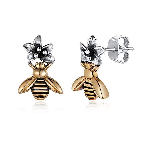 Womens Earrings 925 Sterling Silver & Brass Cute Bee Flower Stud Earrings Fashion Hypoallergenic Earrings Studs for Women Girls ()