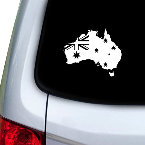 StickAny Car and Auto Decal Series Australia Country w Flag Sticker for Windows, Doors, Hoods (White) Australia Flag Sticker