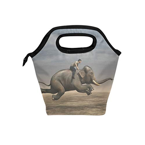 Senya Lunch Bag Insulated Lunchbox Handbag Tote Bags Reusable Cooler Containers Organizer School Outdoor For Women Men Girls Boys Kids Surreal Image Of Man Riding Elephant