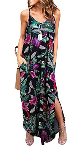 Sleeveless Strappy Cami Maxi Long Dress V Neck with Pockets Casual Summer Beach Skirt Cover Up Backless Side Slits Loose Solid Color for Women Mix Black Print S