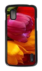 Google Nexus 4 Case,MOKSHOP Adorable Yellow Pink Red Tulips Hard Case Protective Shell Cell Phone Cover For Google Nexus 4 - PC Black
