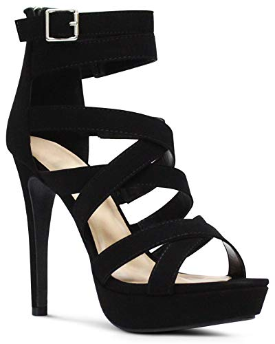 AFFORDABLE FOOTWEAR Women's Open Toe High Platform High-Heeled Shoes Stiletto Dress Sandals - (Black NBPU)- 6.5 ()