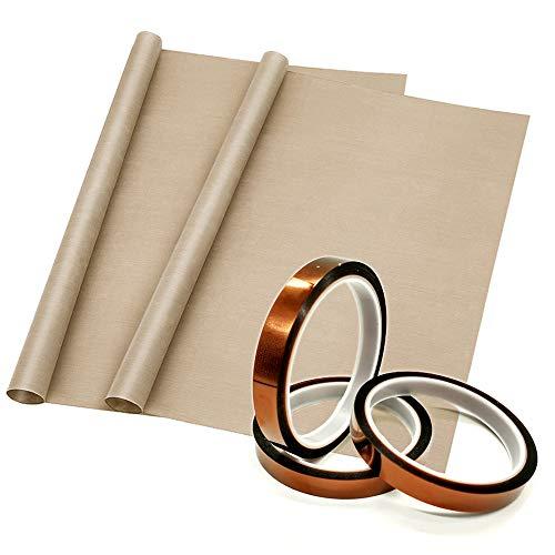 5 Pack Teflon Sheet PTFE Sheet and Heat Transfer Tape Heat Press Tape for Vinyl Heat Press, Sublimation Heat Resistant ()