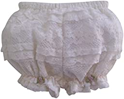 Ivory Lace and Pink Roses with Pearls Baby Bloomers (6 month)