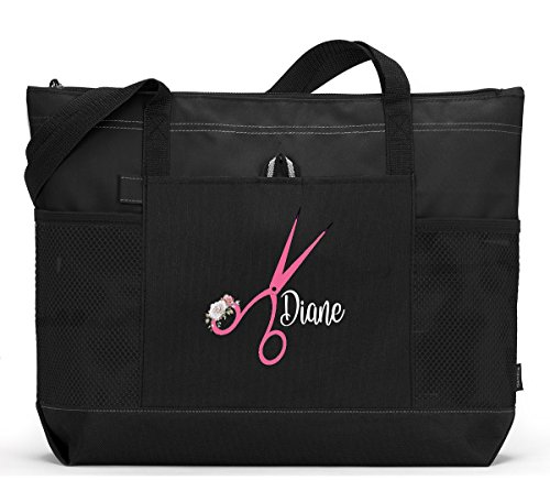 Personalized Hair Stylist Floral Accented Scissors Tote Bag with Mesh Pockets