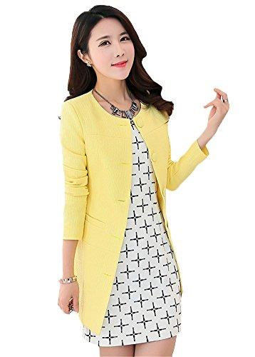 My Wonderful World Women's Candy Color Slim Work Blazer Suit XXX-Large Yellow