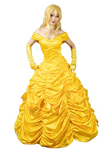 CosFantasy Princess Belle Cosplay Costume Ball Gown Fancy Dress mp002019 (Women XS) Golden -