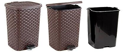 6 L, Beige Eco Friendly Pedal Bin Rattan Wicker Effect for Kitchen Bathroom Office Rubbish Dustbin w//Removable Basket