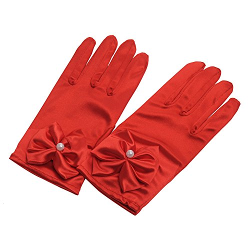 - Lusiyu Girl Solid Child Size Wrist Length Formal Glove with Bow (Red)