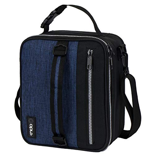 Leak Proof Peva Lining - OPUX Premium Thermal Insulated Lunch Bag| Durable Lunch Box for Adult Men Women | Soft Leakproof Lining with Shoulder Strap | Compact Work Lunch Pail (H Navy)