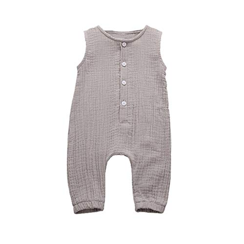 Newborn Baby Girl Summer Cotton Linen Sleeveless Romper Bodysuit Button Solid Fold Outfits Jumpsuit 3-24 Month Cool Soft
