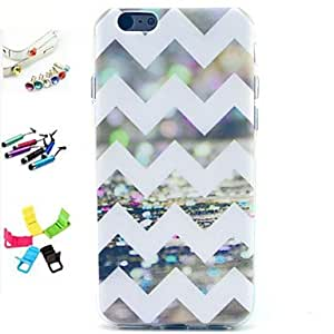 QJM White Wave Pattern Pattern Pattern with Stylus ,Anti-Dust Plug and Stand TPU Soft Case for iPhone 6