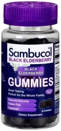 Sambucol Black Elderberry Dietary Supplement Gummies – 30 ct, Pack of 3