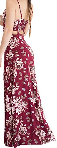 erdbeerloft - Damen Sommerliches Maxikleid mit Cut Outs und Blumenmuster, 34-40, Rot