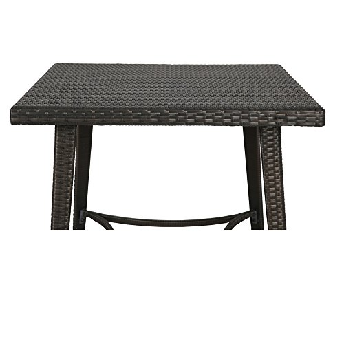 Ulax Furniture Outdoor Patio Wicker Bar High Table Counter Height Table Bar Table