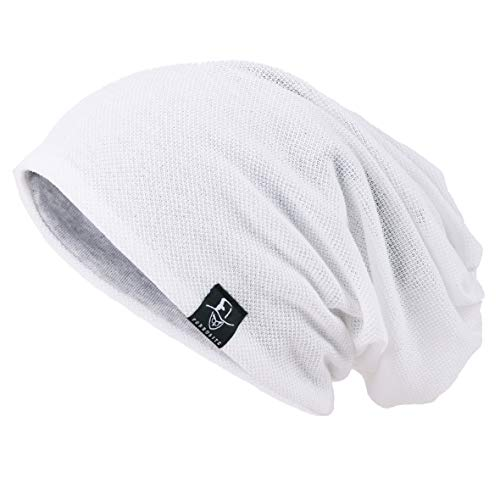 Hat White Slouch - Ruphedy Mens Slouchy Beanie Skull Cap Summer Thin Baggy Oversized Knit Hat B301 (White)