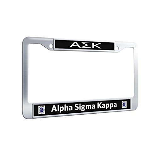 Alpha Sigma Kappa Protector License Plate Frame Stainless Steel Slim Car License Plate Covers With Bolts Washer Caps