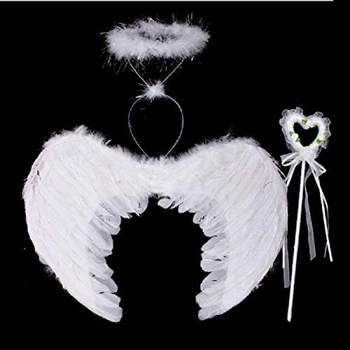 Party Diy Decorations - Feather Angel Fairy Wings Wand Halo 3pcs Set Halloween Party Fancy Dress Costume Children 39 S Day - Decorations Party Party Decorations Fairy Stick Verse Halo Spar ()