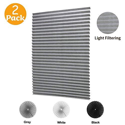 """LUCKUP 2 Pack Cordless Light Filtering Pleated Fabric Shade,Easy to Cut and Install, with 4 Clips (36""""x72""""- 2 Pack, Grey)"""