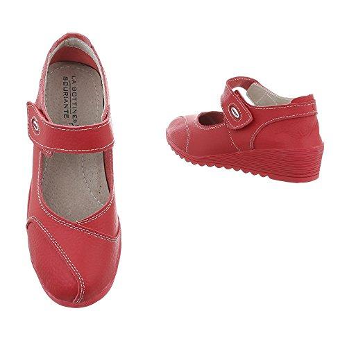 Zapatos para mujer Zapatos de tacon Plataforma Cuñas Ital-Design Rojo 8011
