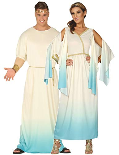 Couples Ladies and Mens Matching Greek Grecian Toga Historical International Around The World Fancy Dress Costume Outfits (Ladies UK 10-12 & Mens Large)