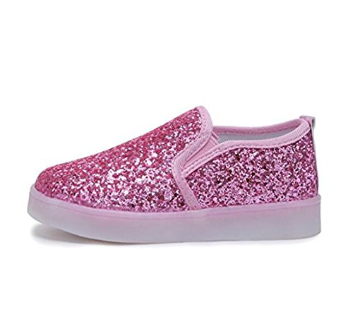 Sequin Flat Shoe (Otamise Girls' Light Up Sequins Shoes Slip-On Flashing LED Casual Loafers Flat Sneakers (Toddler/Little Kid) (8M US Toddler, Sequins Pink))