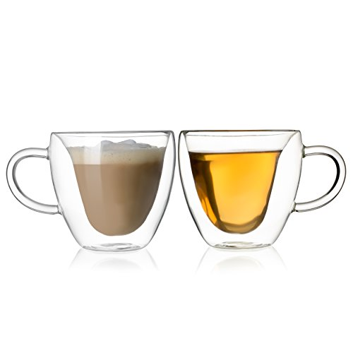Double Walled Coffee Tea Glasses, Perfect Espresso Cappuccino Cups or Latte Mugs, Beautiful Heart Shape, Thermo Insulated Premium Quality Borosilicate Glass, Set of 2 (8.5 oz, 250 ml), HomeKitchenStar