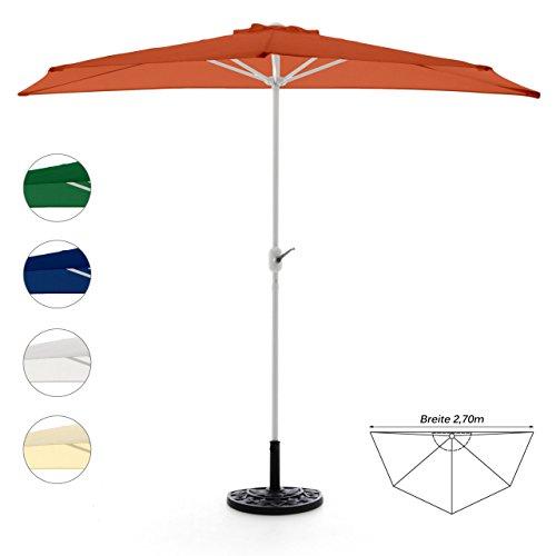 Sonnenschirm halbrund mit Schirmständer und Schirmschutzhülle Wandschirm Balkonschirm (Orange), 270cm breit, 140cm tief, Polyester 160 g/m², Gewicht 5kg