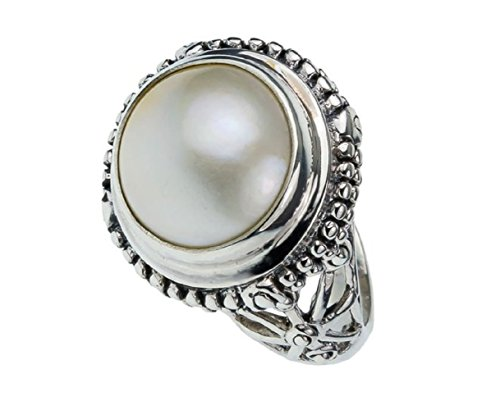 19mm Sterling Silver BALI VINTAGE ANTIQUE MABE PEARL Stone Ring 5-14