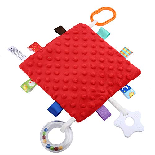 Asixxsix Label Baby Toy, Durable Tearproof Baby Comforting Taggies Blanket, Colorful Skin-Friendly for Baby Gift Baby Teething Toy(Bear Mushroom)