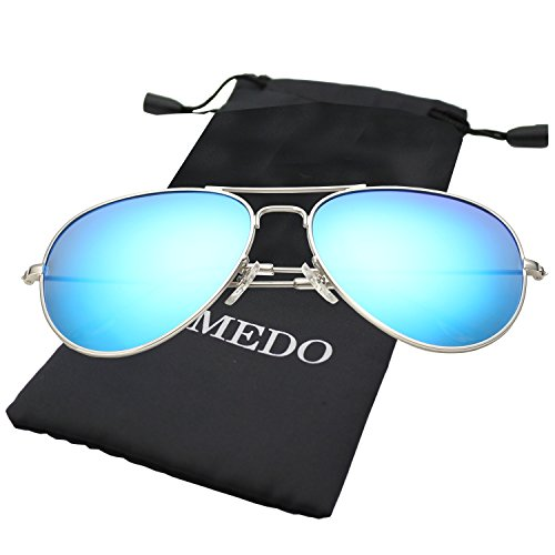 Premium Blue Mirrored W/ Flash Lens Polarized Aviator Sunglasses for - Blue Light Polarized