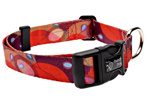 Dutch Dog Amsterdam Fashion Dog Collar, 10 to 15-Inch, Ruby Harvest