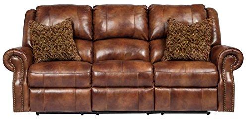 Classic Gold Tone Frame (Ashley Furniture Signature Design - Walworth Recliner Sofa with 2 Pillows - 3 Seats - Pull Tab Manual Reclining - Auburn)