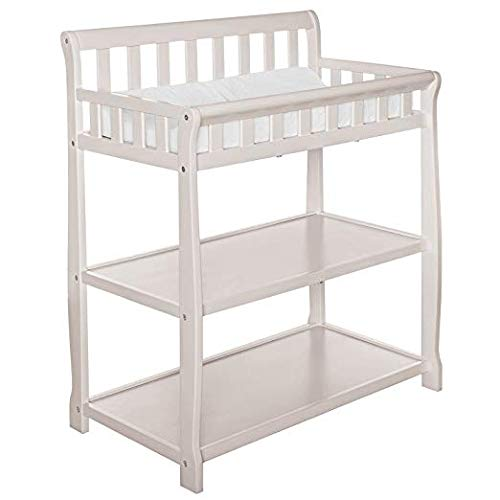 Dream On Me Ashton Changing Table, French White with Two Sided Contour Changing Pad, White