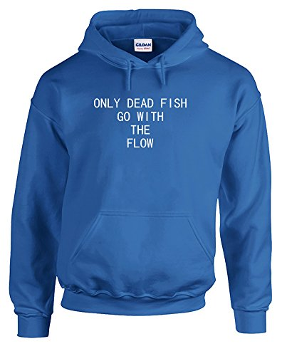 Only Dead Fish Go With The Flow, Printed Hoodie – Royal Blue/White 2XL