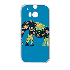 HTC One M8 Cell Phone Case White Elephant with flowers KYS1069331KSL