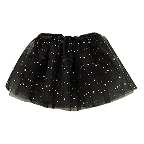 GBSELL Baby Kids Girls Princess Fairy Stars Sequins Party Dance Ballet Tutu Skirts Bubble Short Skirt (Black) -